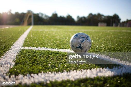 Soccer Ball At Corner Marker Of Soccer Field Stock Photo ...