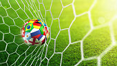 Flags soccer ball in soccer net - goal 3d rendering