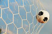 Soccer ball in the net