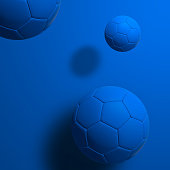 Blue soccer ball on blue background, 3D rendering.