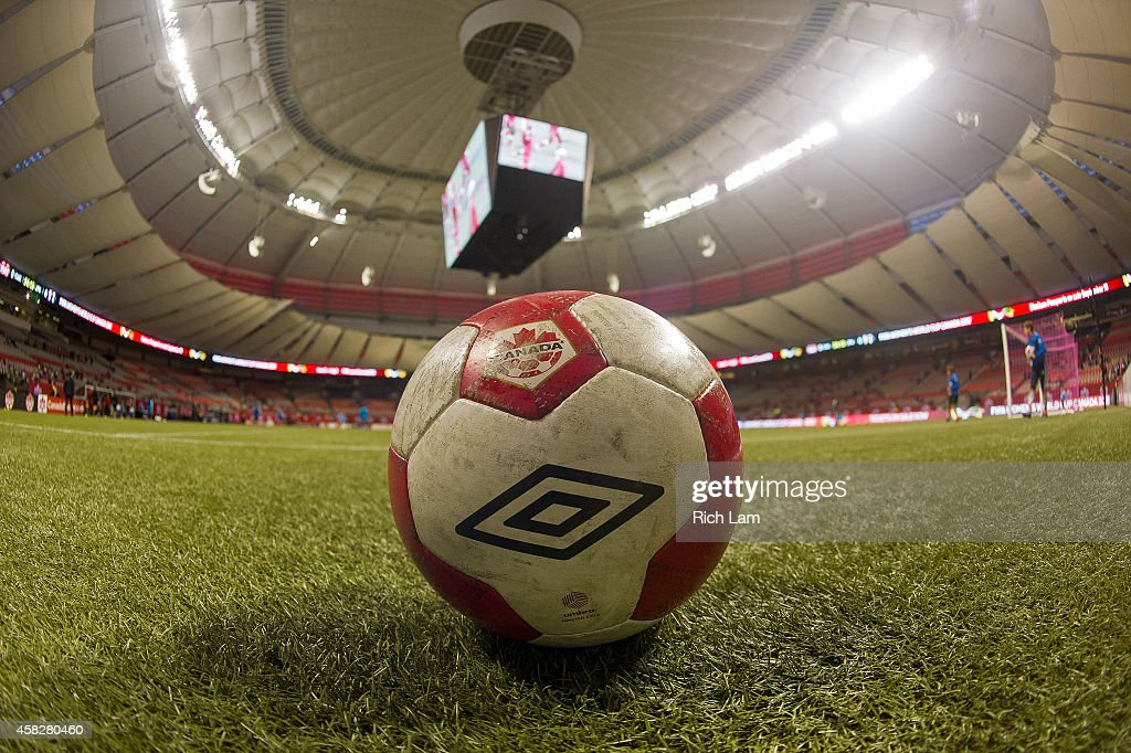 A soccer ball sits on the artificial turf at BC Place Stadium ready for Women's International Soccer Friendly Series action between Japan and Canada...
