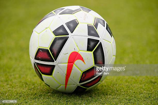 A soccer ball sits on the pitch during the United States' practice on May 9 2015 before an international friendly match against Ireland at Avaya...