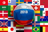 Soccer Ball Textured with Russian Flag on flag Background.