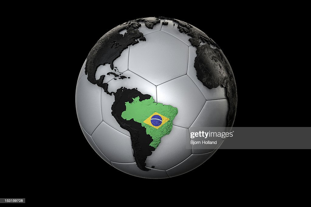 Soccer Ball with Brazilian flag as country outline : Stock Photo