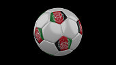 Soccer ball with the flag of Afghanistan colors on black background, 3d rendering