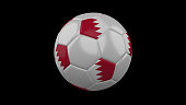 Soccer ball with the flag of Bahrain colors on black background, 3d rendering