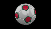 Soccer ball with the flag of Bangladesh colors on black background, 3d rendering