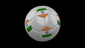 Soccer ball with the flag of India colorson black background, 3d rendering