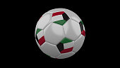 Soccer ball with the flag of Kuwait colors on black background, 3d rendering