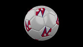 Soccer ball with the flag of Maldives colors on black background, 3d rendering