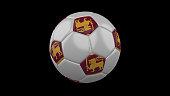 Soccer ball with the flag of Sri Lanka colors on black, 3d rendering