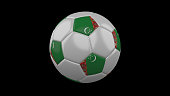 Soccer ball with the flag of Turkmenistan colors on black background, 3d rendering
