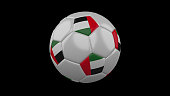 Soccer ball with the flag of United Arab Emirates colorson black background, 3d rendering