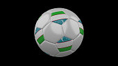 Soccer ball with the flag of Uzbekistan colors on black background, 3d rendering
