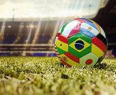 World Cup football - Soccer ball with flags of different countries