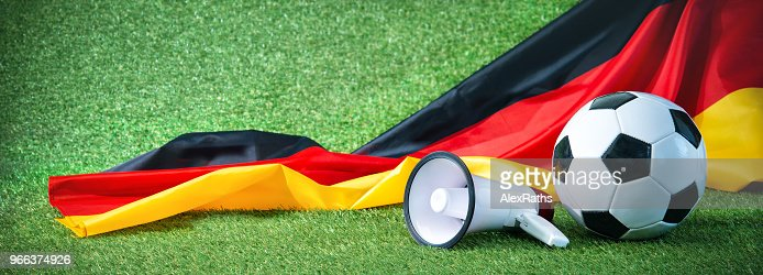 Soccer ball with german flag and megaphone : Stock Photo
