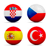 Four Soccer balls with team flags