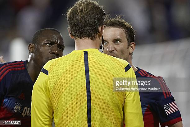 Chicago Fire Mike Magee argues with referee Kevin Stott during game vs New York Red Bulls at Red Bull Arena Harrison NJ CREDIT Guillermo Hernandez...