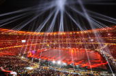 Soccer City Stadium is lit during the closing ceremony prior to the 2010 World Cup football final between the Netherlands and Spain on July 11 2010...