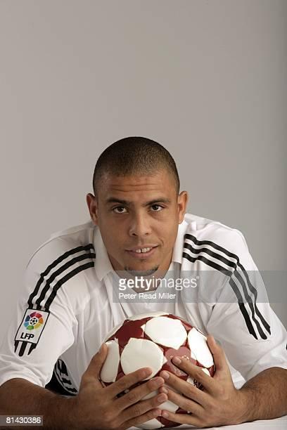Soccer Closeup portrait of Real Madrid Ronaldo Luis Nazario de Lima with ball equipment Los Angeles CA 7/17/2005