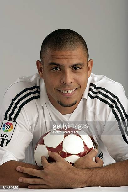 Soccer Closeup portrait of Real Madrid Ronaldo Luis Nazario de Lima with ball equipment Los Angeles CA 7/17/2005
