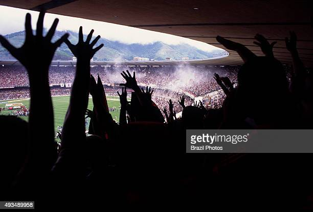 Soccer fans at former Maracana stadium before major reconstruction for the 2014 FIFA World Cup in Brazil Flamengo team supporters The Estádio do...