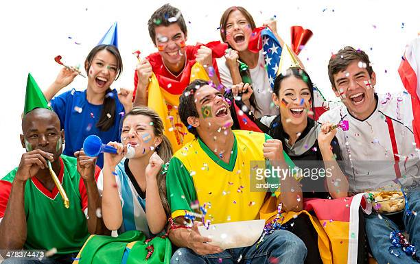 Soccer fans celebrating
