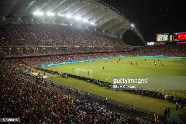 Soccer fans cheer during the Premier League Asia Trophy match between Liverpool FC and Leicester City FC at Hong Kong Stadium on July 22 2017 in Hong...
