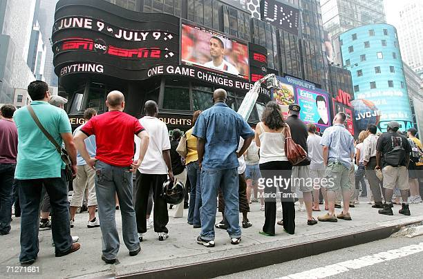 Soccer fans gather to watch the US Ghana World Cup game in Times Square on June 22 2006 in New York City The US lost to Ghana 21 and were eliminated...