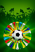 Soccer ball surrounded by vuvuzela and the silhouettes of cheering fans