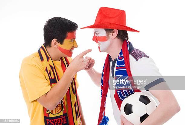 Soccer fans, Spain and England, soccer ball