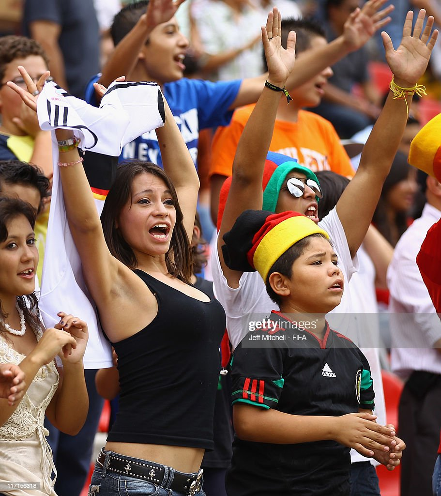 Soccer fans watch the Group E FIFA U-17 World Cup match between Burkina Faso and Germany at the Corregidora Stadium on June 23, 2011 in Queretaro, Mexico.