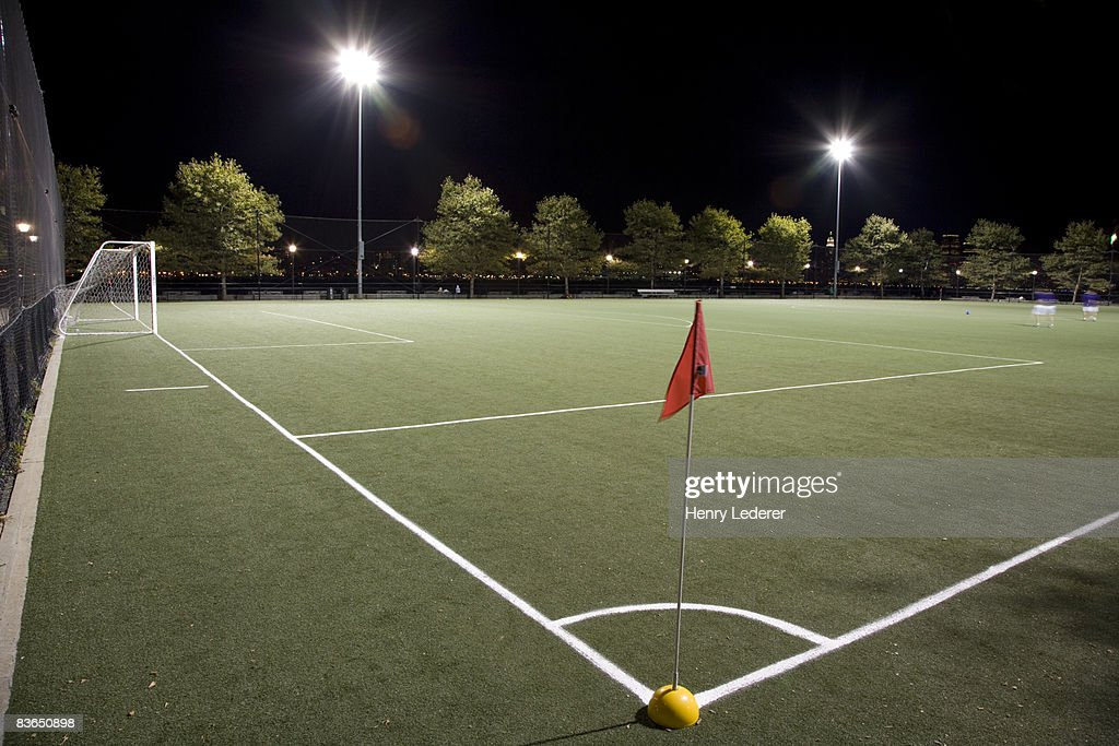 Soccer Field At Night Artificial Turf Stock Photo | Getty ...