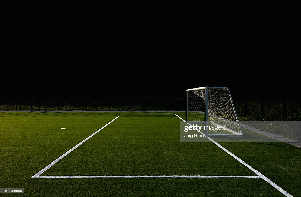 Soccer field at night : Stock Photo