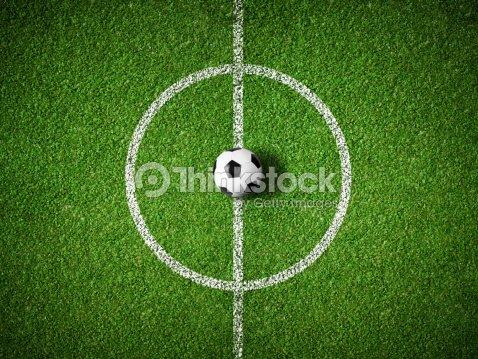 Centro do Campo de Futebol e bola Vista superior de fundo   Foto de stock faa0864388dbe