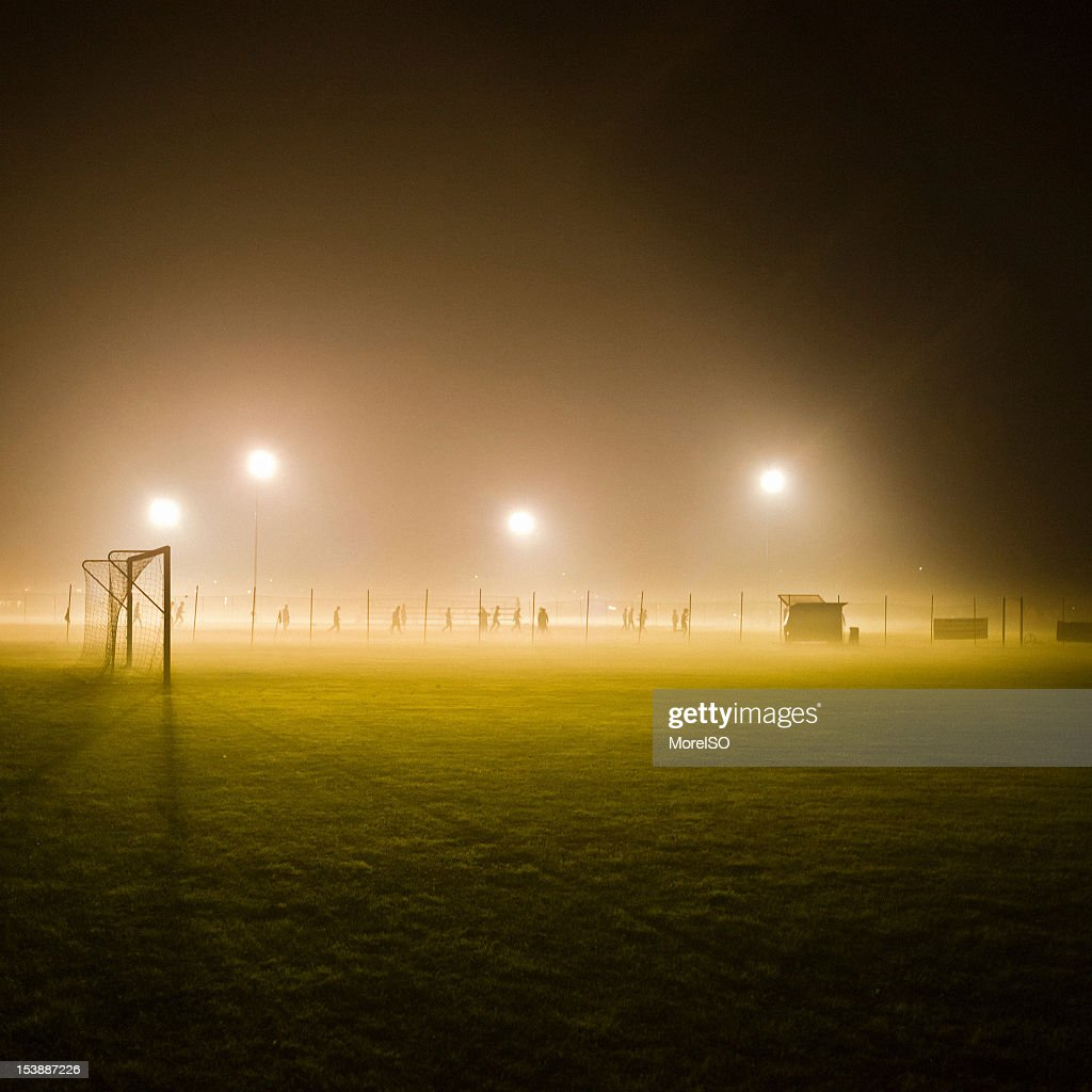 Soccer Field in the Fog : Stock Photo