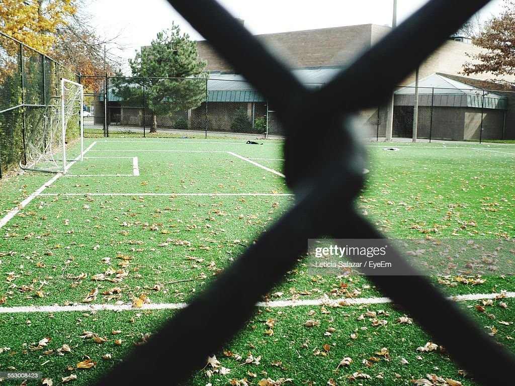 Soccer Field Seen Through Chainlink Fence