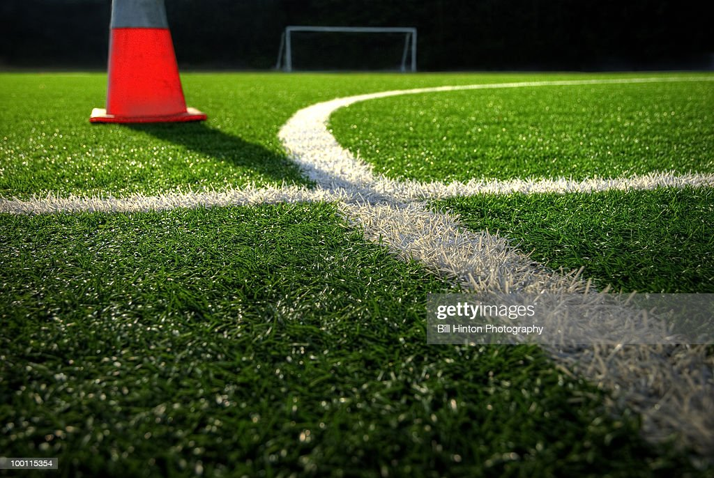 Soccer field stadium turf with cone : Stock-Foto
