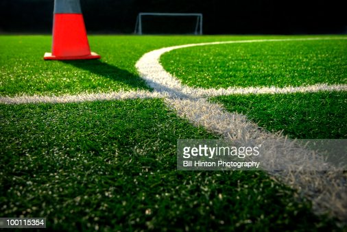 Soccer field stadium turf with cone : Foto de stock