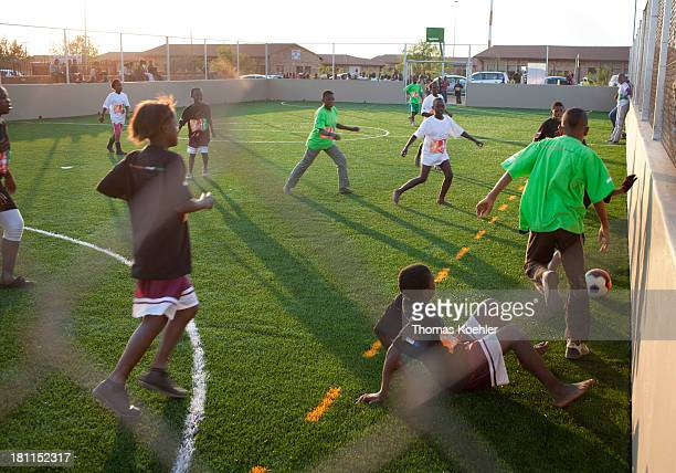 Soccer field that was built as part of the Youth Development Through Football project children and young people in townships and poor rural areas are...