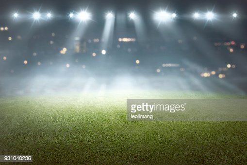 Soccer field with blur spotlight : Stock Photo