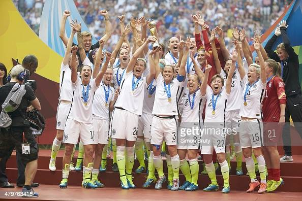 FIFA Women's World Cup Final USA players victorious during trophy presentation after winning game vs Japan at BC Place Vancouver Canada 7/5/2015...