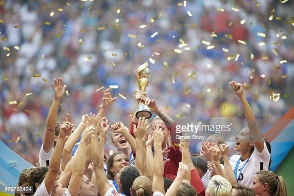 FIFA Women's World Cup Final USA players victorious with trophy after winning game vs Japan at BC Place Vancouver Canada 7/5/2015 CREDIT Simon Bruty