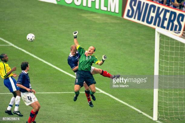 FIFA World Cup Brazil goalikeeper Claudio Taffarel in action making save vs Scotland at Stade de France SaintDenis France 6/10/1998 CREDIT Bob Martin