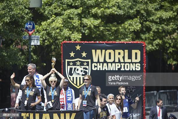FIFA World Cup Championship Parade View of New York City mayor Bill de Blasio on float with Carli Lloyd Megan Rapinoe and coach Jill Ellis during...