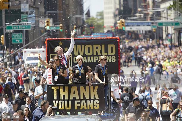FIFA World Cup Championship Parade View of New York City mayor Bill de Blasio on float with Carli Lloyd Megan Rapinoe and coach Jill Ellis during...