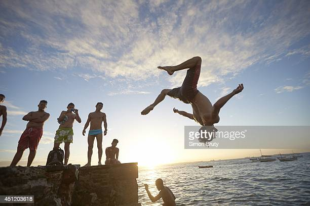 FIFA World Cup Scenic view of people diving into water at beach Salvador Brazil 6/15/2014 CREDIT Simon Bruty
