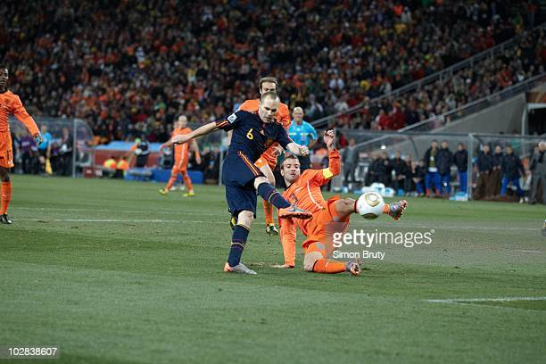 FIFA World Cup Spain Andres Iniesta in action scoring game winning goal during 116th minute of Match 64 Final vs Netherlands at Soccer City Stadium...