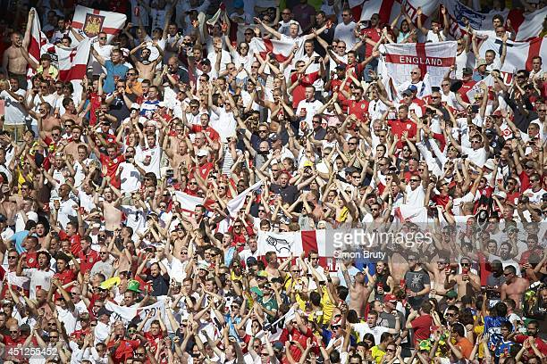 FIFA World Cup View of England fans in stands during Group Stage Group D match vs Costa Rica at Estadio Mineirao Belo Horizonte Brazil 6/24/2014...