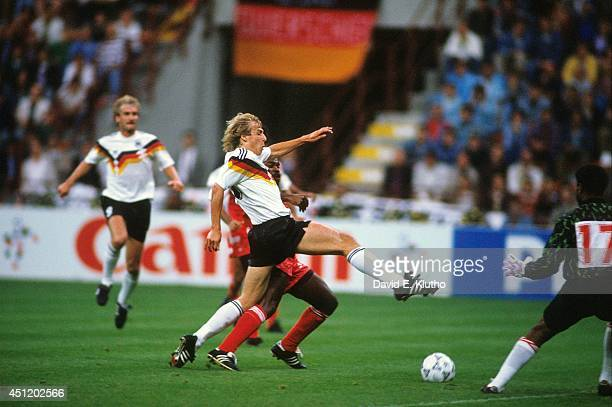 FIFA World Cup West Germany Juergen Klinsmann in action vs United Arab Emirates during Group Stage Group D at Stadio Giuseppe Meazza Milan Italy...